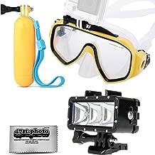 Opteka Scuba Dive Mask + Floating Handle Grip + Diving LED Light w/GoPro Mount for GoPro HERO4, HERO3, HERO2 Black, Silver, Session, SJ6000, SJ4000 and Similar Action Cameras