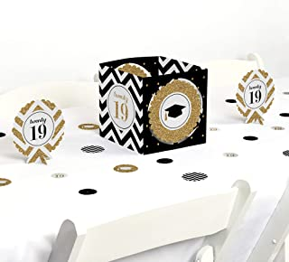 Big Dot of Happiness Gold Tassel Worth The Hassle - 2019 Graduation Party Centerpiece & Table Decoration Kit