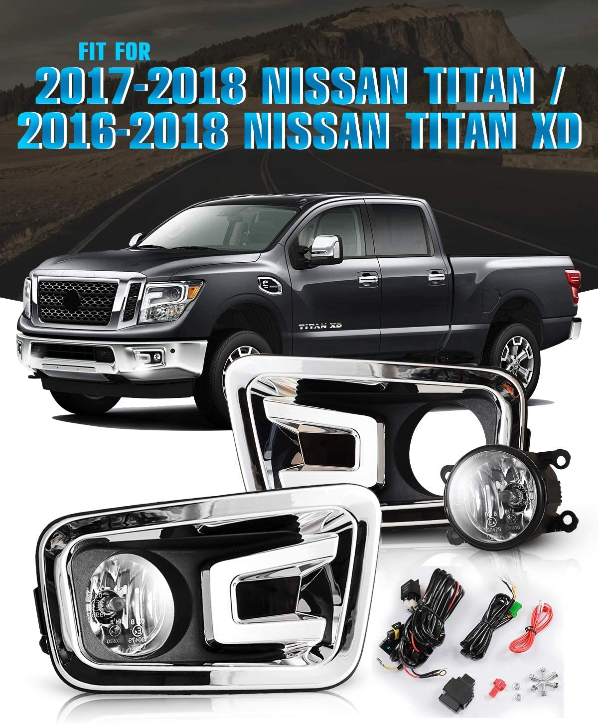 Smoke Lens AUTOFREE Fog Lights Compatible with 2017-2018 Titan /& 2016-2019 Titan XD with Bulbs H11 12V 55W Driving Lamp Replacement Included Wiring Kit /& Switch-1 Pair