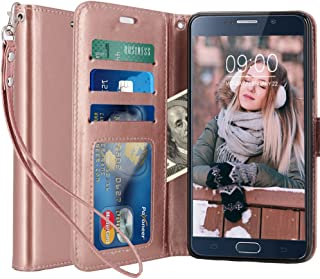 LK Case for Galaxy Note 5, [Wrist Strap] Luxury PU Leather Wallet Flip Protective Case Cover with Card Slots and Stand for Samsung Galaxy Note 5 (Rose Gold)