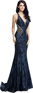 Womens Lace Mermaid Prom Dress Long 2019 Sequin Evening Ball Gowns