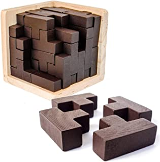 3D Wooden Brain Teaser Puzzle by Sharp Brain Zone. Genius Skills Builder T-Shape Pieces with Tetris Fit. Educational Toy f...