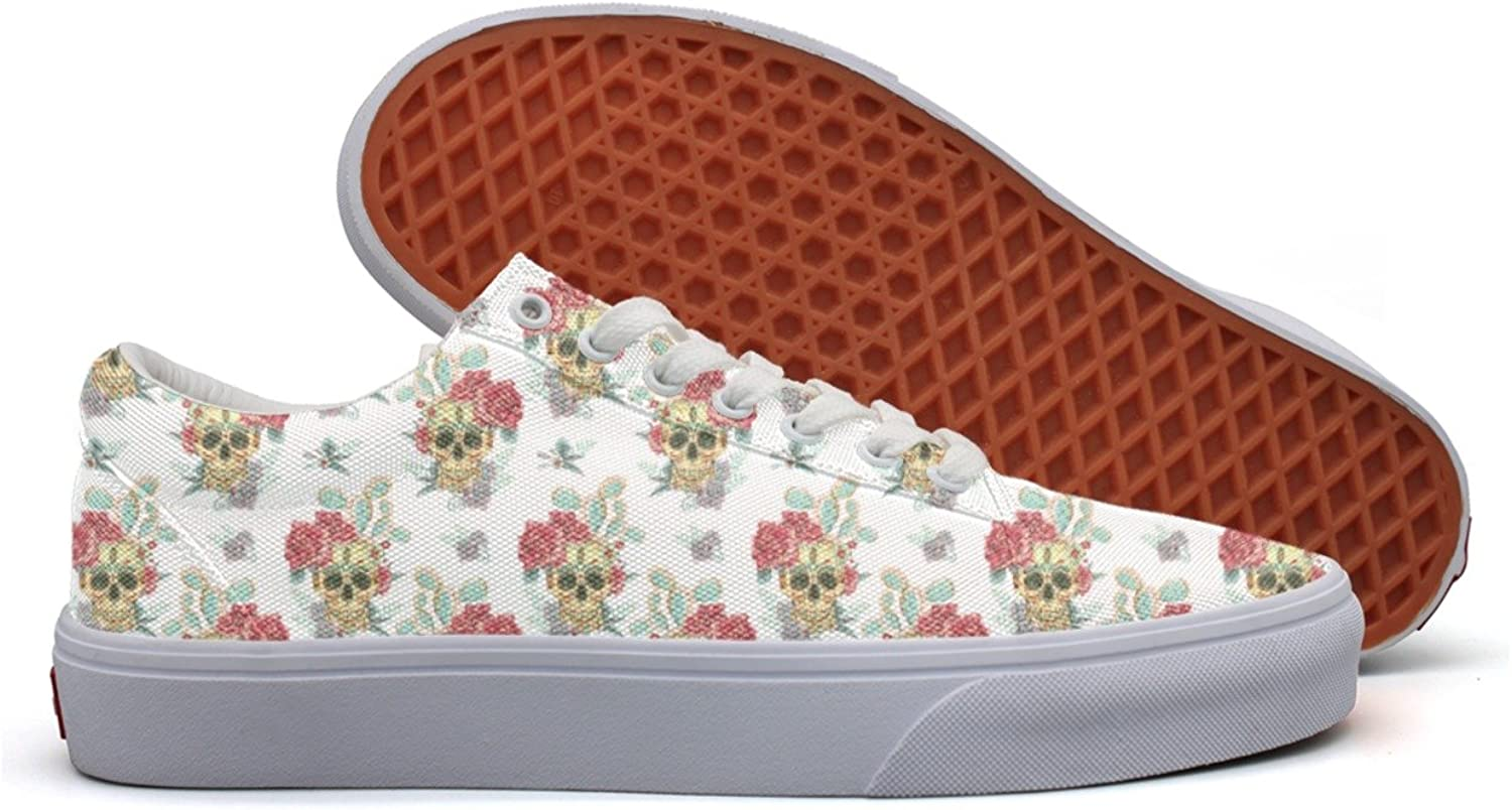 Charmarm Skulls And Bueaty Flowers Womens Cute Low Top Canvas Slip-ons shoes