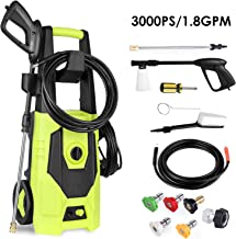 femor Electric Pressure Washer, Power Washer Max Pressure 3000PSI 1800W 1.7GPM, Car Washer with Five Interchange Nozzle, Brush, Detergent Bottle, Perfect for Car Washing, Patio & Garden
