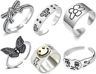 6 قطع خاتم وجه مبتسم خاتم الفراشة مجموعة خاتم وجه حزين مكتنزة قابل للتعديل فراشة خمر فضية Cring الدائري حزمة للنساء
