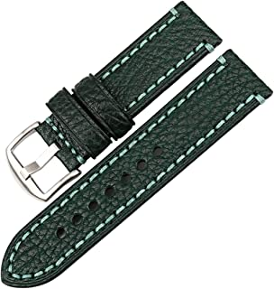 Watch Band, Genuine Leather Watch Strap 20mm 22mm 24mm 26mm with Stainless Steel Buckle Watchband (Band Width 24mm, Light Brown+Silver Buckle)