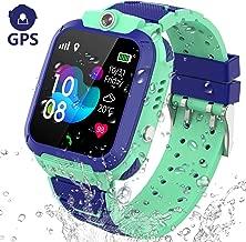 Kids Smart Watch GPS Tracker - IP67 Waterproof Smartwatch Phone for Kids HD Touch Screen SOS Call Voice Chat Digital Wrist Watch Alarm Clock Camera Birthday Gifts for School Boy Girls (Blue)