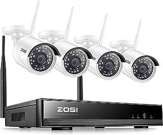 ZOSI Kit de Cámaras de Seguridad WiFi 1080P 8CH Grabador NVR + (4) 20MP Cámaras IP Exterior/Interior sin Disco Duro Acceso Remoto Detección de Movimiento