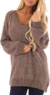 Lovezesent Womens V Neck Long Sleeve Fuzzy Sherpa Knit Pullover Popcorn Tunic Sweaters
