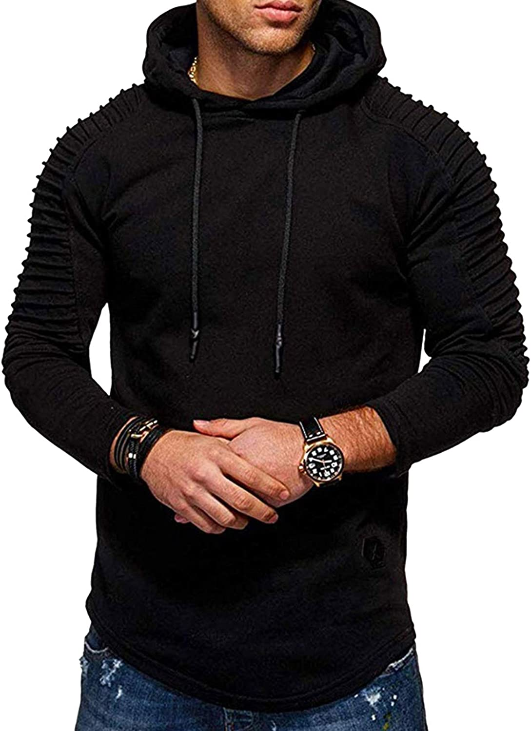 Mens Fashion Athletic Hoodie Workout Hooded Pullover Solid Color Fleece Sweater