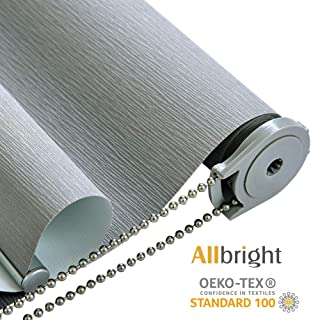 ALLBRIGHT Thermal Insulated UV Protection 100% Blackout Waterproof Window Roller Shades Blinds with Striped Jacquard (35 x 83 inches, Pebble Grey)