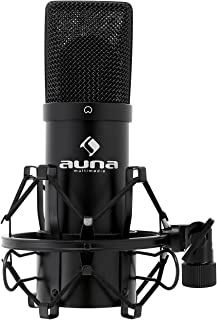 auna MIC-900B, USB condensatormicrofoon, gamingmicrofoon, vloermicrofoon voor zang- en stemopnames, pc en studio, 16 mm ca...