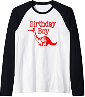 Dinosaur Birthday Boy Raglan Baseball Tee
