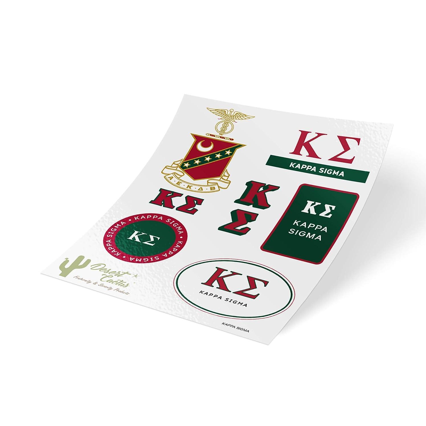 Kappa Sigma Standard Sticker Sheet Decal Laptop Water Bottle Car Kappa Sig (Full Sheet - Standard)