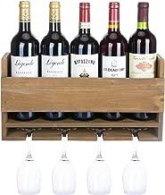 Halvalo Rustic Wine Rack Wood Wine Holder with Wine Glass Holder, Wine Storage Rack Home & Kitchen Décor