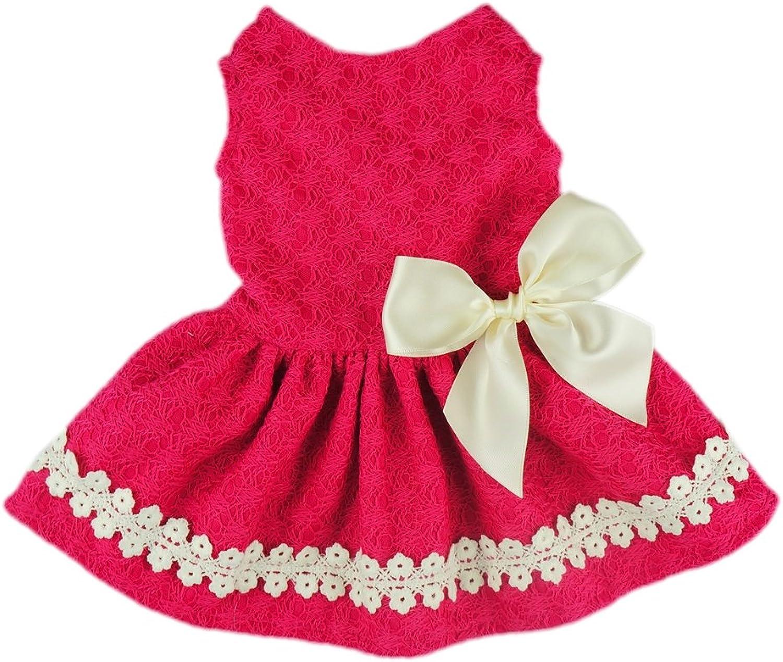 Fitwarm Pink Sweet Pet Dog Dress Lace Ribbon Clothes Shirts  XXS