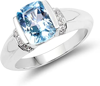 2.45 Carats Genuine Blue Topaz and White Topaz Ring Solid .925 Sterling Silver with Rhodium Plating