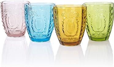 Drinking Glasses Set of 4, Colored Premium Heavy Glassware, 12OZ Multicolor Glass Tumbler Gift for