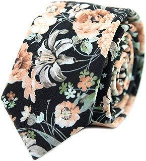 "Men's Cotton Printed Floral Tie 2.56"" Skinny Narrow Necktie Various Designs"