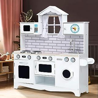 Keezi Kids Kitchen Playset Children Wooden Toy-White