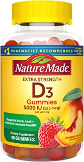 Nature Made Vitamin D3 125 mcg (5000 IU) Gummies, 80 Count for Bone Health†