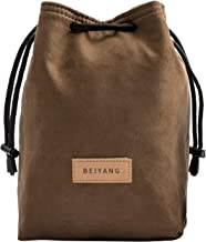 BEIYANG Camera Case Drawstring Bag, Vintage DSLR Camera Bag Soft Lens Case Gadget for Traveling Outdoor and Canon Nikon Sony Pentax Olympus and Polaroid SLR Storage(Yellow)