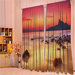 ZHICASSIESOPHIER Modern Style Room Darkening Blackout Window Treatment Curtain Valance for Kitchen/Living Room/Bedroom/Laundry,Photo of Mystic Sunrise Over The Sea with Stones 108Wx73L Inch
