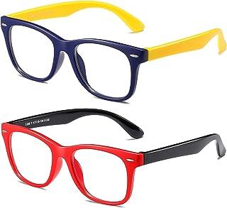 AHXLL Blue Light Blocking Glasses for Kids 2pack, Computer Gaming Video Glasses for Girls Boys Age 3-12, Anti Eyestrain (R...