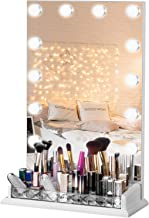 LUXFURNI Vanity Table Makeup Hollywood Mirror Dimmable Light Touch Control 12 Cold/Warm LED Lights, Makeup Organizer Brush...