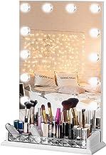 مراة فانيتي لطاولة مستحضرات التجميل من لوكسفورني، عاكسة للضوء تعمل باللمس 12 مصباح ليد بارد/دافئ، مع حامل فرش منظم للمكياج