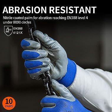 Vgo 10-Pairs Safety Work Gloves, Gardening Gloves, Non-slip Nitrile coating, Dipping Gloves (Size L, Blue, NT2110)