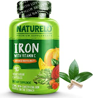 NATURELO Vegan Iron Supplement with Whole Food Vitamin C - Best Natural Iron Pills for Women & Men w/ Iron Deficiency Incl...