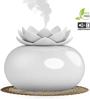 YJY Ceramic Essential Oil Diffuser USB Decorative Flower Aromatherapy Diffuser,Cute Lotus Humidifier Crafts Ornaments,12 Hours Timer for Home Bedroom Office Yoga SPA(White)
