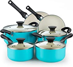 Cook N Home Ceramic coating cookware set, 10 Pieces, Turquoise