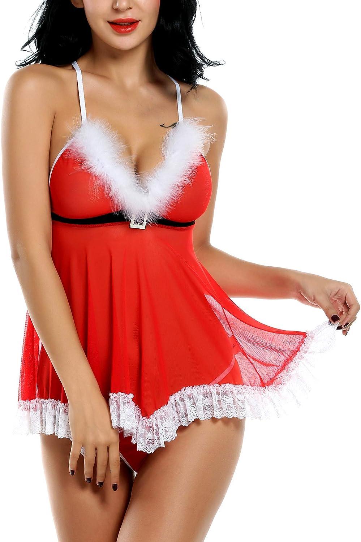 ELOVER Womens Christmas Lingerie Red Santa Babydoll Strap Chemise V Neck Sleepwear