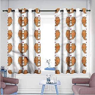 VIVIDX Custom Curtains,Otter,Animal Couple Love Theme,Room Darkening, Noise Reducing,W55x72L