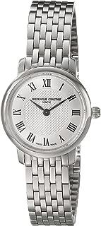 Frederique Constant Women's FC200MCS6B Slim Line Analog Display Swiss Quartz Silver Watch