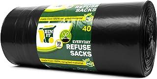 BIN IT 40 Drawstring, Everyday Refuse Sacks, Bin Bags, Bin Liners, 70 Litre, Recycled, Strong, Tear Resistant, 30 μm, Perf...