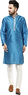 SKAVIJ Men's Tunic Art Silk Kurta Pajama Set Party Dress