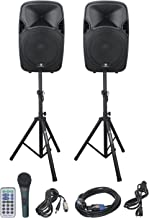 PRORECK PARTY 12 Portable 12-Inch Woofer 2-Way Powered PA Speaker System Combo Set with Bluetooth/USB/SD Card Reader/FM Radio/Remote Control/Speaker Stand