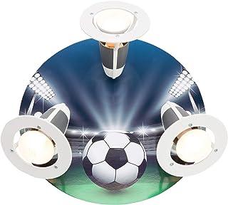 elobra-Lámpara de techo Fútbol Arena, madera, azul/verde, a + +