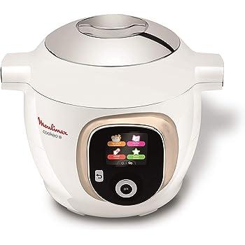 Moulinex Multicuiseur Intelligent Haute Pression 6 L 150 Recettes 6 Modes de Cuisson Guide Pas à Pas Facile et Rapide Application Mon Cookeo Blanc CE851A10, 6 liters