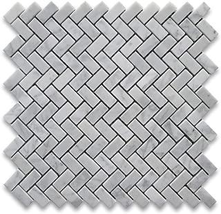 Carrara White Italian Carrera Marble Herringbone Mosaic Tile 5/8 x 1 1/4 Polished