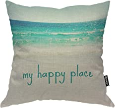 Moslion Throw Pillow Cover My Happy Place 18x18 Inch Beach Sea Wave Summer Vocation Holiday Travel Cool Square Pillow Case Cushion Cover for Father's Day Home Car Decorative Cotton Linen
