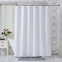 Amazer Fabric Shower Curtain Liner, White Polyester Fabric Shower Curtain Liners Bathroom Shower Curtains, Water Proof, Hotel Quality, 72 x 72 Inches