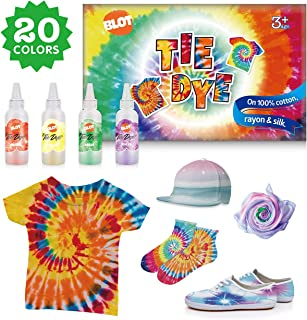 Tie Dye DIY Kit 20 Colors Kids Shirt Fabric Dyes for Women with Rubber Bands Gloves Table Cover Wooden Clips for Party Supplies