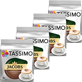 Tassimo Jacobs Cappuccino, Rainforest Alliance Certified, Pack of 4, 4 x 16 T-Discs (8 Servings)