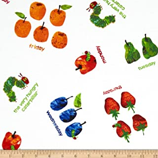 Andover The Very Hungry Caterpillar Dots Small Scattered Fruit White Fabric by The Yard