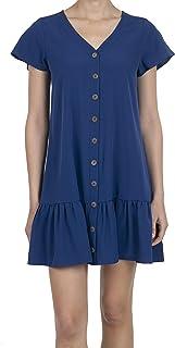 iliad USA Women's Short Sleeve V-Neck Ruffle Hem Button Design Tunic Dress