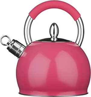 Premier Housewares 3litre Stainless Steel Pink Contemporary Whistling Kettle New